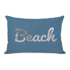 """Beach Script"" Indoor Throw Pillow by OneBellaCasa, 14""x20"""