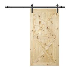 """Belleze - Sliding Barn Door Pine Unfinished 42""""x84"""" - Interior Doors"""