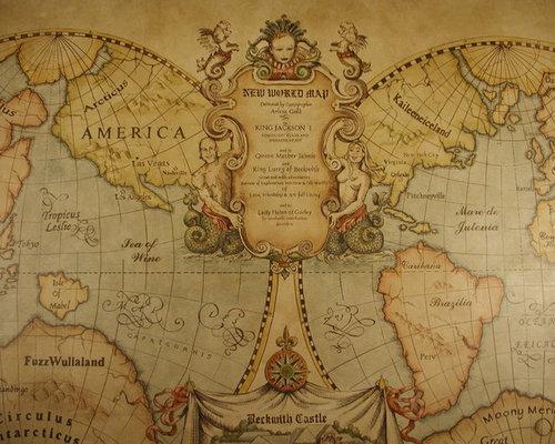 Old World Map Mural By Arlene Gold