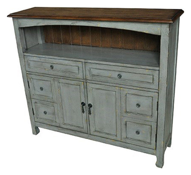 Bedford 2 Drawer/2 Door Sage Gray Cabinet With Wood Top
