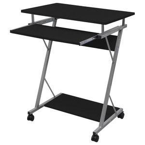 vidaXL Computer Desk Pull Out Tray Student Table, Black