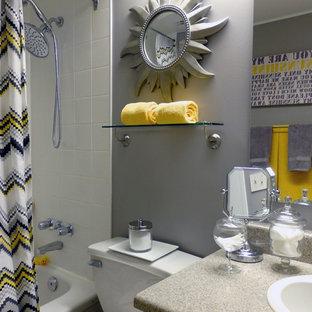 Yellow Gray Bathroom Houzz - Yellow-bathroom