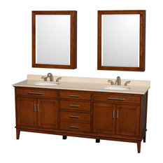 "Hatton 80"" Light Chestnut Double Vanity With Ivory Marble Top and Oval Sink"