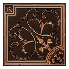 """24""""x24"""" D204 PVC Faux Tin Ceiling Tiles, Drop-in, Set of 6, Antique Copper"""