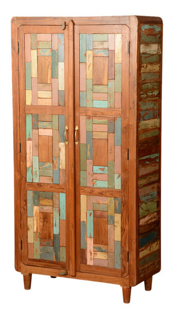 Distressed Mondrian Teak U0026 Reclaimed Wood Armoire Wardrobe