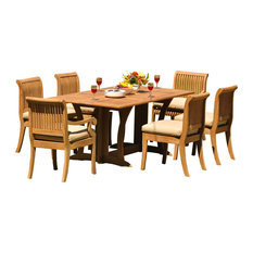 """7-Piece Outdoor Patio Teak Dining Set, 69"""" Warwick Table, 6 Giva Chairs"""