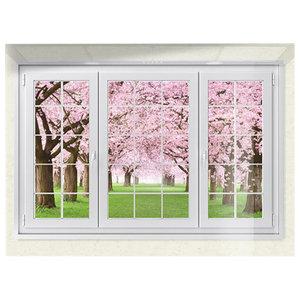 Pink Garden View Glass Splashback, 100x75 cm