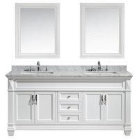 "Hudson 72"" Double Sink Vanity Set, White With White Carrara Marble Countertop"