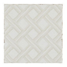 Annie Selke Lattice With White and Cream Ceramic Wall Tile 6 x 6 in.