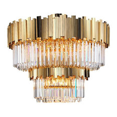 Gold Plated Flush Mount Crystal Chandelier By Morsale, Diameter 40""