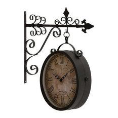 benzara woodland imprts the urban port double side clock wall clocks