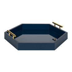 Kate and Laurel, Lipton Hexagon Decorative Tray With Polished Metal Handles