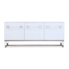 Classic White Storage Credenza Polished Stainless Steel