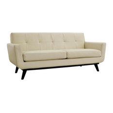Griffon Bonded Leather Love Seat/Beige