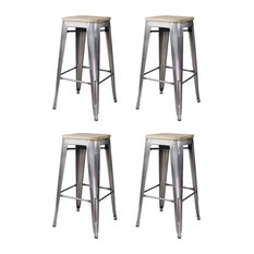 4 Pack Bar Stool Metal Construction With Cross Braces Backless Design Silver/