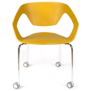 Ezra Roller Chair, Ginger Yellow