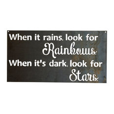 Look for Rainbows Sign Metal Wall Art, Raw Metal