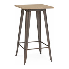 Design Lab MN - Dreux Rustic Matte Light Elm Wood Steel Bar Table, Rustic Matte Light Wood - Indoor Pub and Bistro Tables