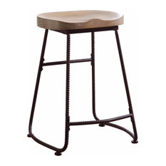 Rustic Wood And Metal Counter Height Stool, Brown And Black