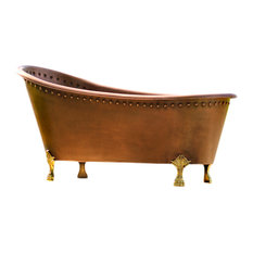 "Solid Copper/Brass 67"" Antique Style Rolled Rim Slipper Clawfoot Bathtub Set"