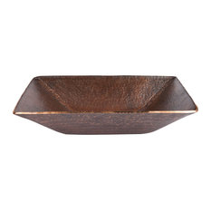 Modern Rectangle Hand Forged Old World Copper Vessel Sink