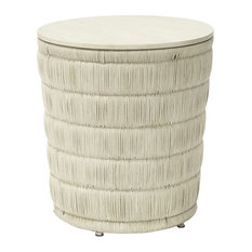 Kathy Kuo Home - Palecek Mercer Coastal Beach Hand Wrapped Wicker Round Side End Table - Side Tables and End Tables