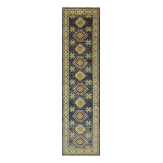 "Runner Super Kazak Geometric Oriental Rug, Blue, 2'8""x10'11"""