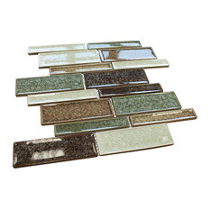 "11.875""x12.875"" Legacy Mixed Mosaic Tile Sheet, Green"