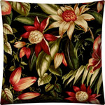 Joita, llc - Dahlia Indoor/Outdoor Zippered Pillow Cover Without Insert - Dahlia is Victorian in color with deep hues of tan, black, green, red, salmon, rust and khaki - but transitional in print with large flowers amid subtle green leaves. Constructed with an outdoor rated zipper, thread and fabric. Printed pattern on polyester fabric. To maintain the life of the pillow cover, bring indoors or protect from the elements when not in use. Machine wash on cold, delicate. Lay flat to dry. Do not dry clean. One cover with zipper only - no insert included.