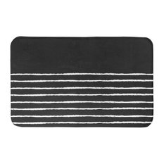 Black Sketch Stripes 34x21 Bath Mat