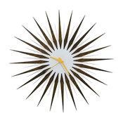 RF Atomic Clock, Walnut White/Orange, Midcentury Modern Wood/Acrylic Decor