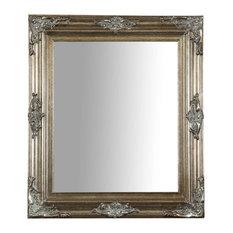 Carved Corner Wall Mirror, Silver, 69x79 cm