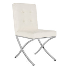 Walsh Tufted Side Chair - White Chrome by Safavieh
