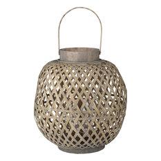 A&B Home D42181 Oval Coconio Wood Lattice Lantern