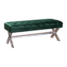 GDF Studio Eclectic Tufted New Velvet Ottoman With Clear Acrylic Legs, Emerald
