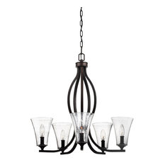 Marteau 5-Light Chandelier, Oil Rubbed Bronze With Clear Seeded Glass