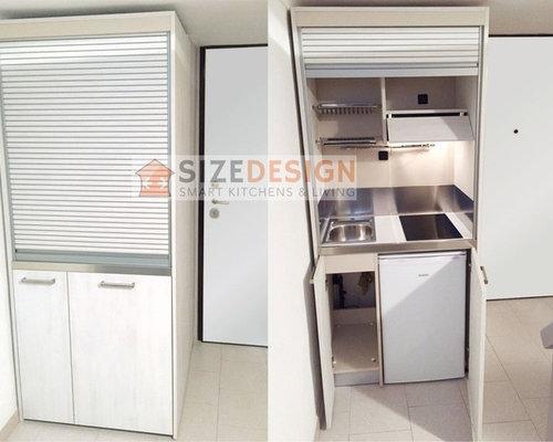 Cucine e mini cucine monoblocco a scomparsa con ante a - Mini cucine a scomparsa ...
