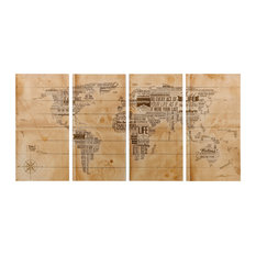 """""""World Map"""" Wall Art Giclee Printed On Solid Fir Wood Planks"""
