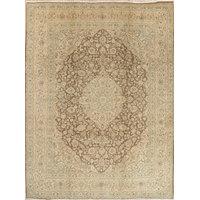 Consigned, Kashmar Vintage Persian Handmade Oriental Rug Wool, Brown, 10'x12'