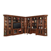 Parker House Leonardo 12-Piece Entertainment Library Wall with Ladder, Chestnut