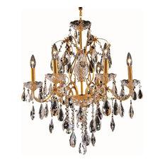 St. Francis 6-Light Chandelier, Gold, Elegant Cut Crystal