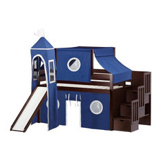 JACKPOT! Castle Twin Low Loft Cherry Stairway Bed, Blue and White Tent & Slide