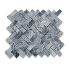 "12""x12"" Bardiglio Gray Herringbone Mosaic Tile Polished"
