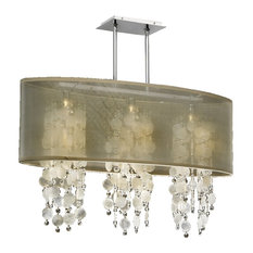 """33 """"W Oval Shaded Capiz Shell and Crystal Chandelier   Soho, Taupe"""