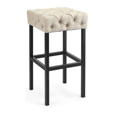 1st Avenue - Quincy Backless Bar Stool, Beige Linen - Bar Stools and Counter Stools