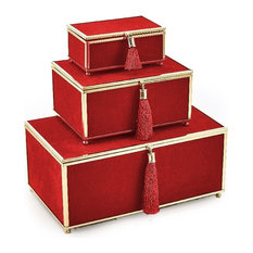 Sagebrook Home Red Velveteen Boxes With Tassel, Set of 3