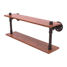 "Pipeline Collection 22"" Ironwood Double Shelf, Antique Bronze"
