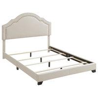 """Shaped Back Upholstered Platform Bed, Linen Beige, King, 85.5""""x80.5""""x54.75"""""""