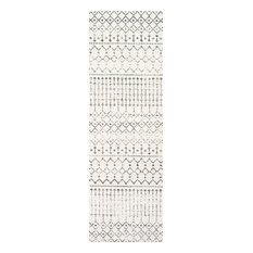 Contemporary Moroccan Trellis Grey Runner, 82x244 cm