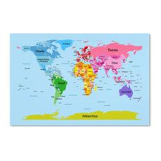 Trademark Fine Art - 'World Map for Kids' Canvas Art by Michael Tompsett - Kids Wall Decor